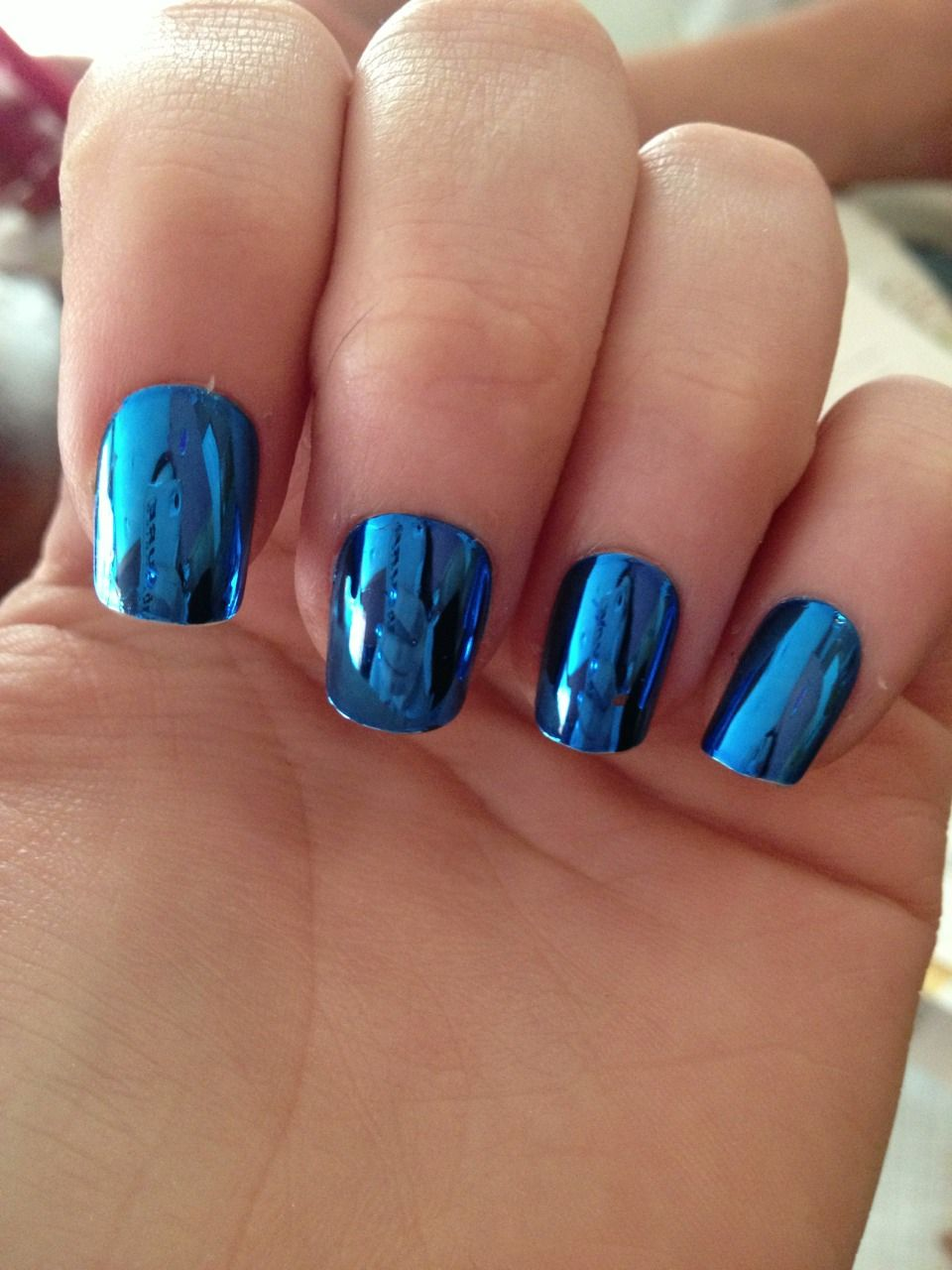Super blue, sapphire, cobalt mirror nails | shiny ...