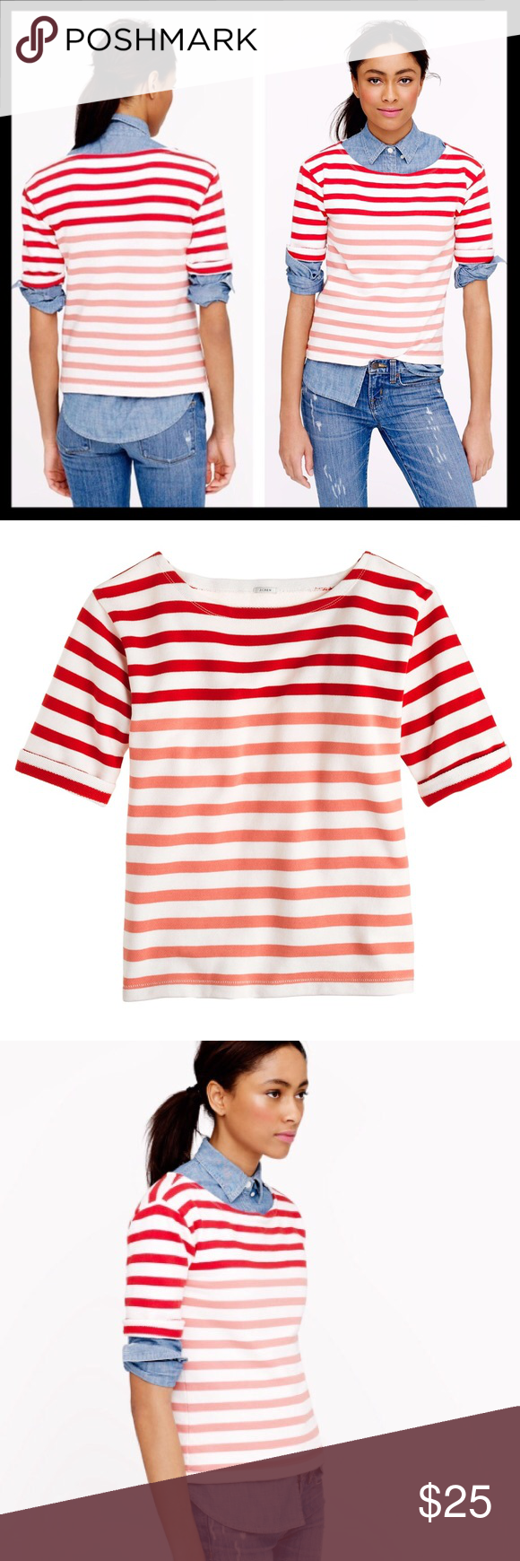 """j. crew // rugby stripe terry coral sweatshirt tee Our designers combined a lightweight sweatshirt fleece with an elbow-sleeve sailor tee to create this cozy-cool piece that goes from city streets to breezy beaches in a flash. (Bonus points for the block stripe, a graphic new twist on colorblocking.) Slightly boxy fit. Cotton. Machine wash. Great preowned condition. Bust is 18"""" across lying flat. Length is 22.5"""" from top of shoulder. J. Crew Tops Tees - Short Sleeve"""