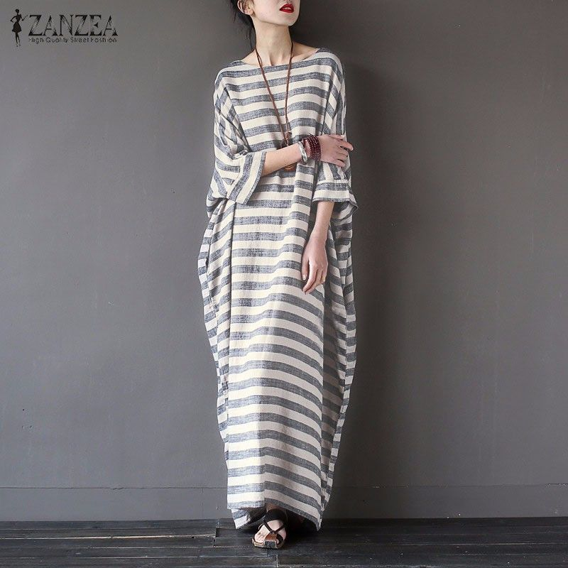 b51f0b3b68 Women Elegant Striped Print Dress 2017 Spring ZANZEA Casual Loose O Neck  Batwing Sleeve Maxi Long Dress Vestidos Plus Size-in Dresses from Women s  Clothing ...