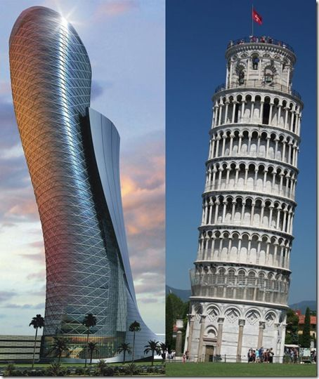 "The most ""inclined"" building in the world (leaning at 18 degrees westward!), thus beating by far the record held by the Tower of Pisa."