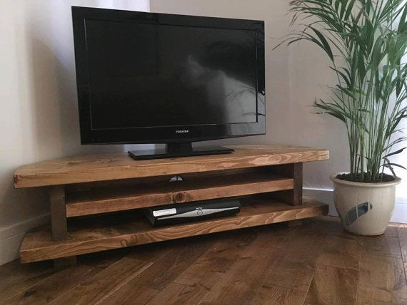 Handmade In The Uk Chunky Rustic Tv Corner Unit Stand Solid Wood