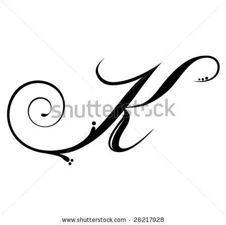 Letter K Script Stock Vector 26217928 Shutterstock Letter K Tattoo Lettering Letter K Design