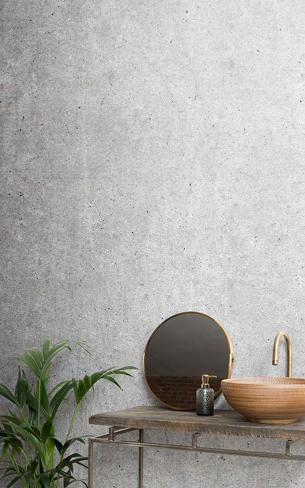 Papier Peint Fresque Béton Rustique Pinterest Bathroom wallpaper - creer une maison en 3d