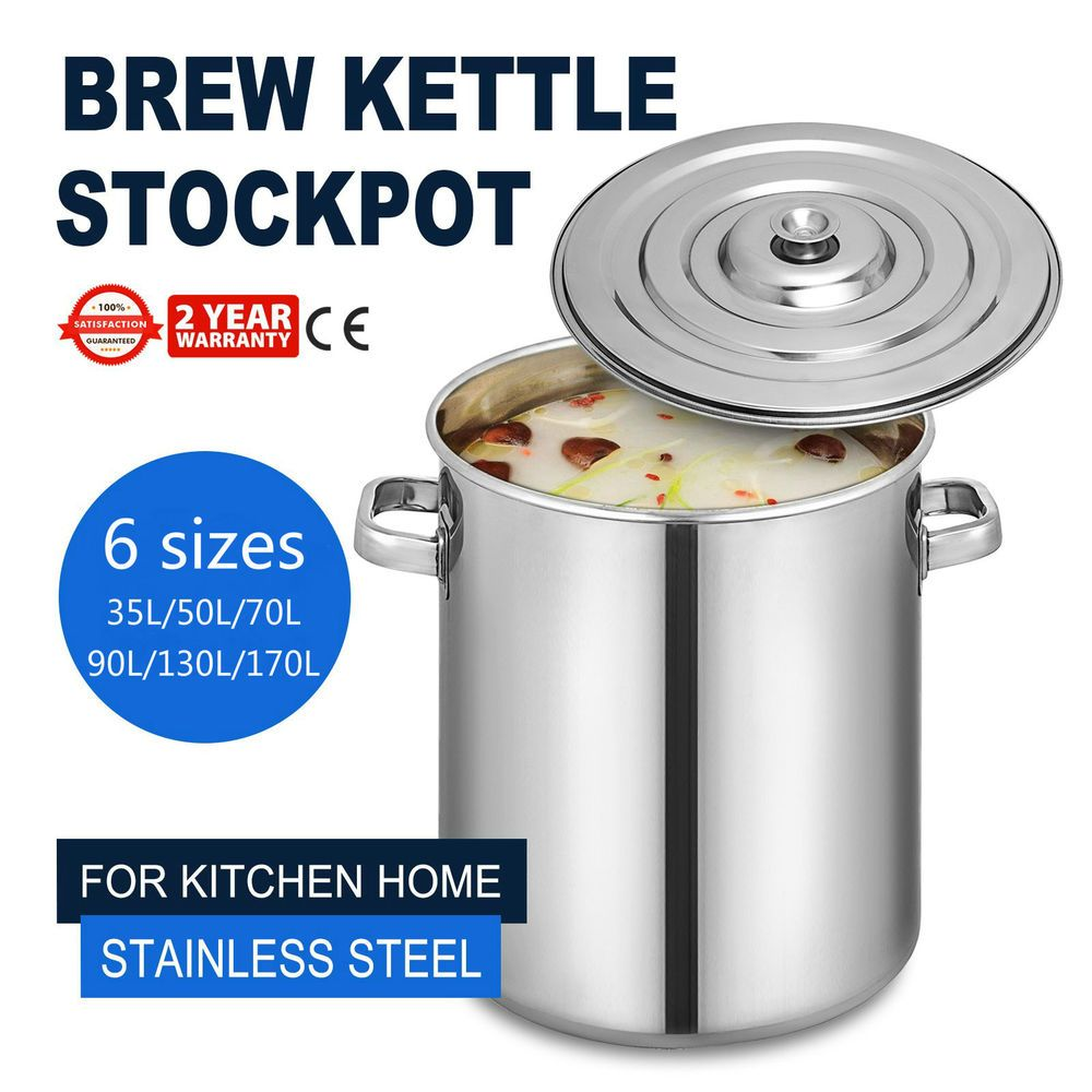 6 Sizes Stainless Steel Stock Pot Brewing Beer Kettle Home Use Large Soup Pan