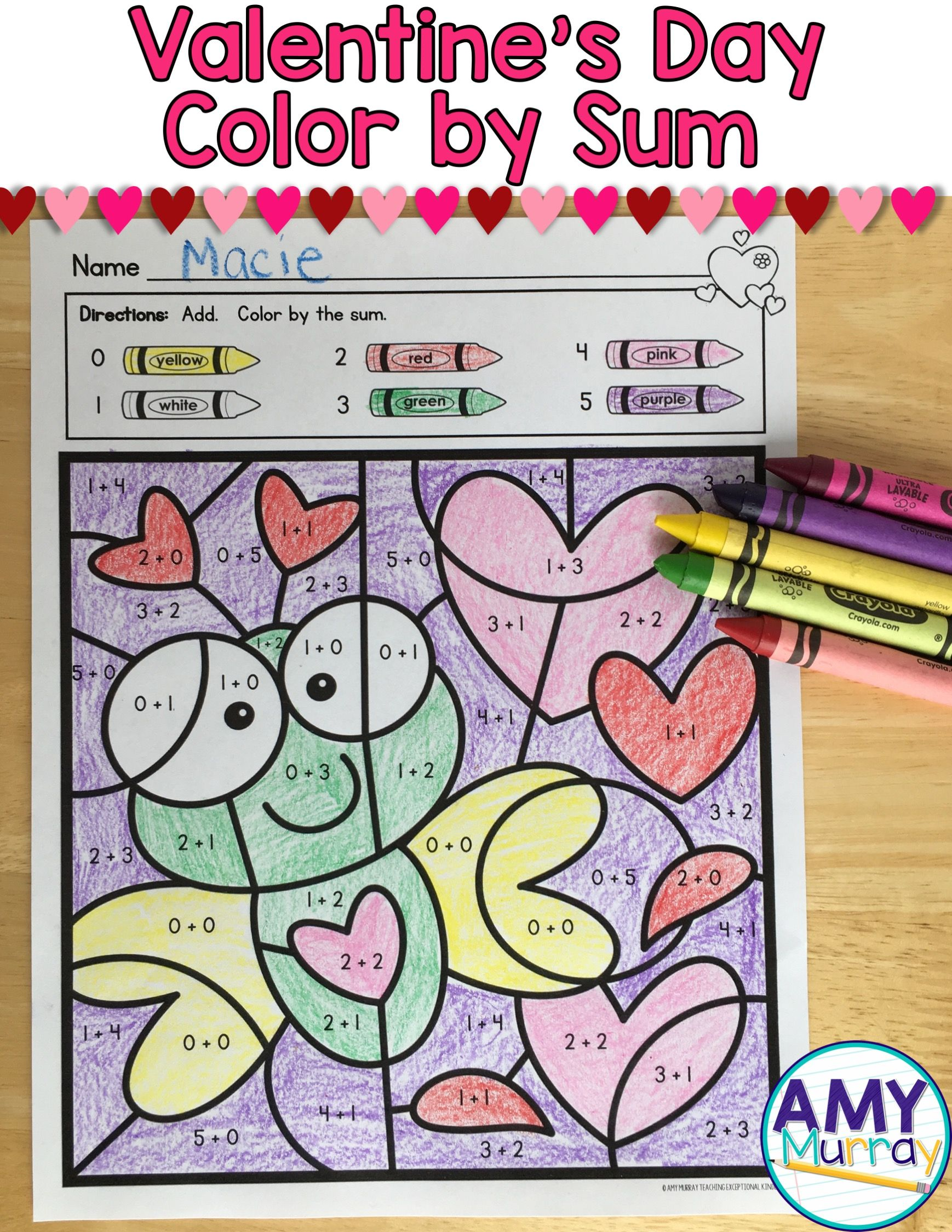 Valentine S Day Color By The Code Worksheets Kindergarten Math