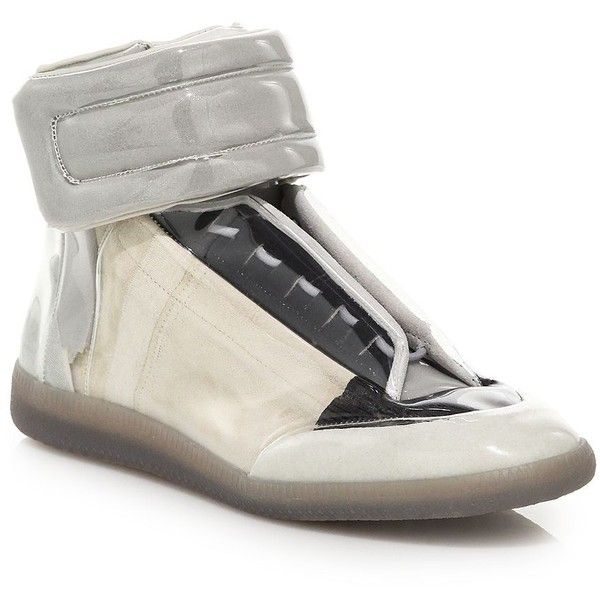 Maison Margiela Trans Future High-Top Sneakers : Maison Margiela Shoes ($790) ❤ liked on Polyvore featuring men's fashion, men's shoes, men's sneakers, apparel & accessories, cream, maison margiela mens shoes, mens high top sneakers and mens high top shoes