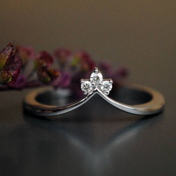 3 Diamond Ring V Wedding Band Stack Engagement Sparkly Diamonds On A Gold Crown This Is Not Just Perfect Match For Your