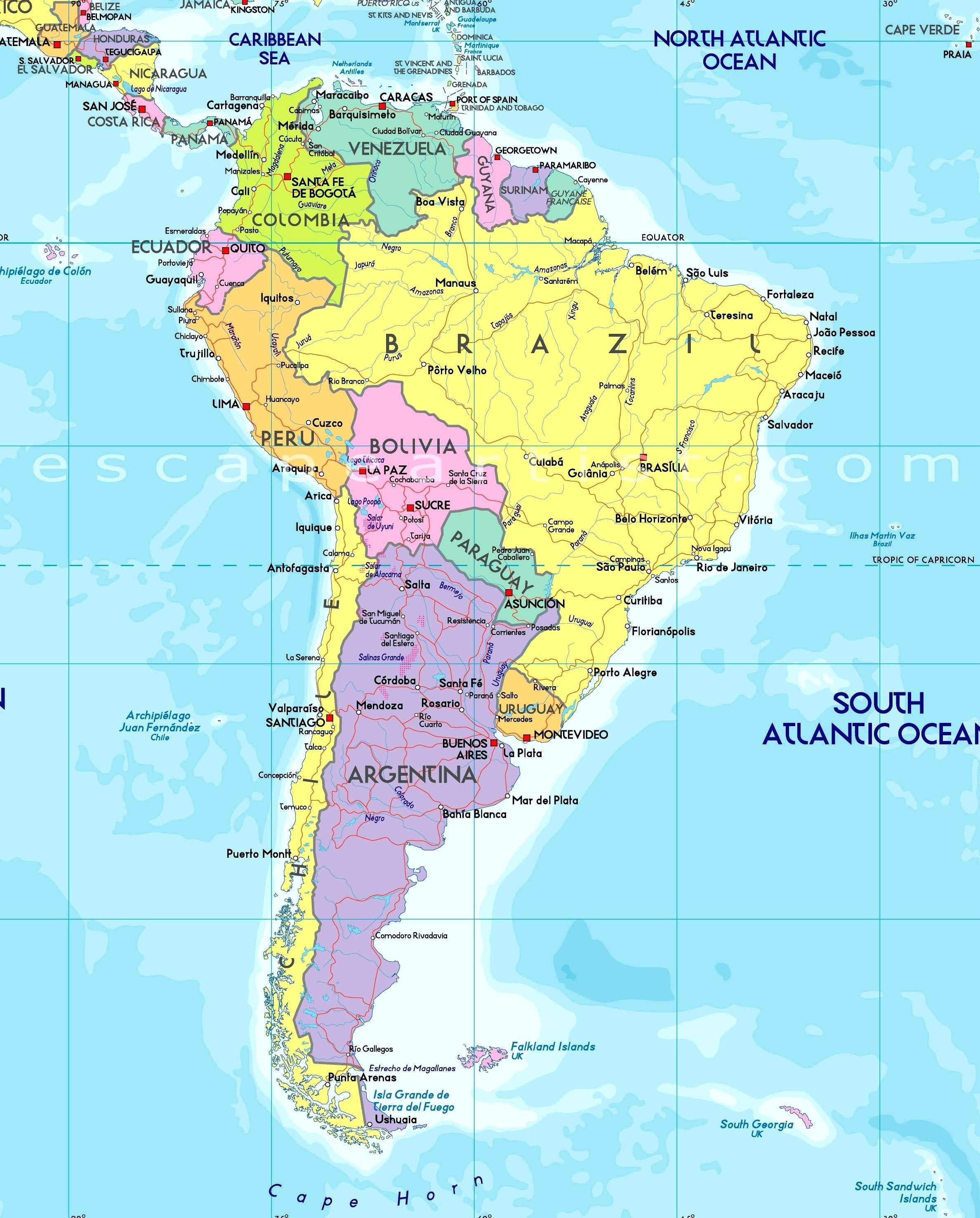 Enthralling Physical Features Of Latin America Map South America With Cities South America Capital Map Us Political Map Labeled Kids Map Of South America #latinamericatravel