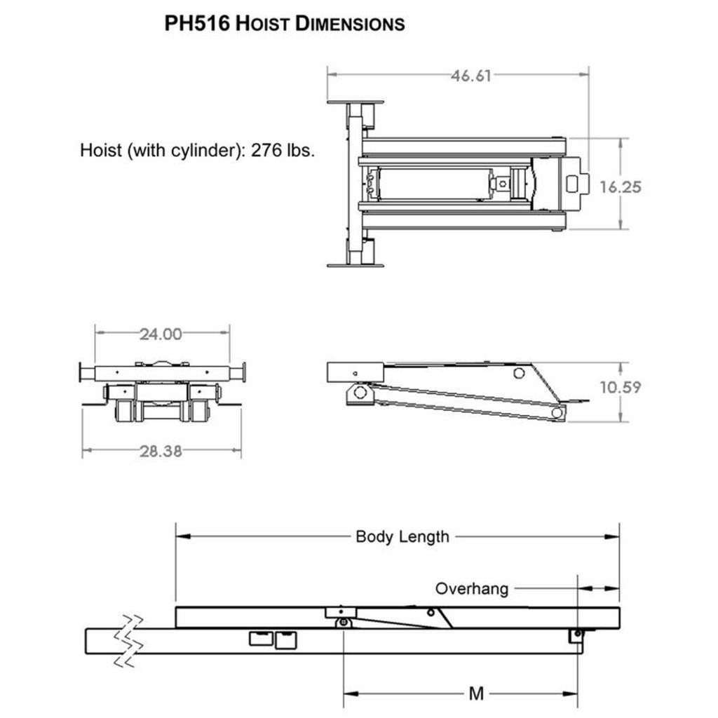 8 ton 16 000 lb hydraulic power hoist dimensions model ph516 premium supply [ 1024 x 1024 Pixel ]