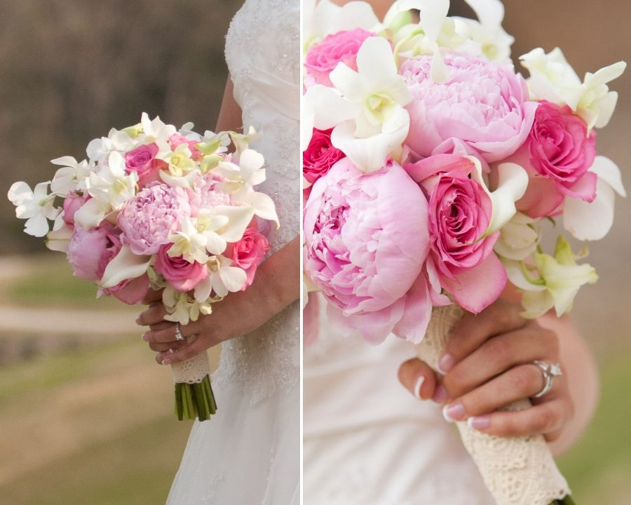 Pretty Pink Bouquet Peonies Roses And Dendrobium Orchids Bouquet Dendrobium Orchids Wedding Orchid Wedding Wedding Bouquets