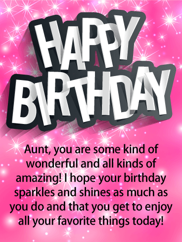 Glittery Pink Happy Birthday Card For Aunt Birthday Greeting Cards By Davia Birthday Wishes For Aunt Happy Birthday Aunt Birthday Card For Aunt