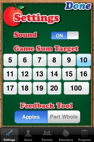 MathTappers app - N1.9 Demonstrate an understanding of addition of numbers with answers to 20 and the corresponding subtraction facts, concretely, pictorially, physically, and symbolically. MathTappers Find Sums – a free app designed to help kids master basic addition and subtraction facts to 10.