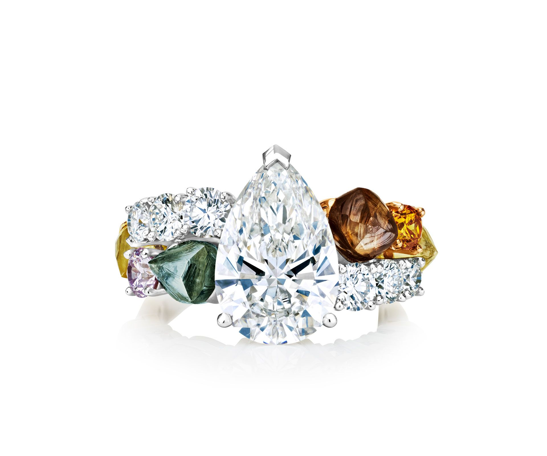 Vulcan pearshaped ring multicolored gemstones pinterest rings