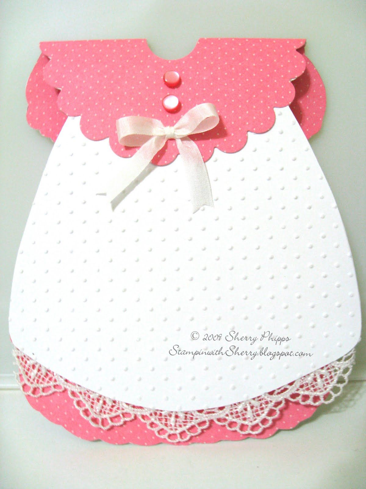 Stampin With Sherry Baby Dress Card Baby Cards Handmade Baby Girl Cards Dress Card