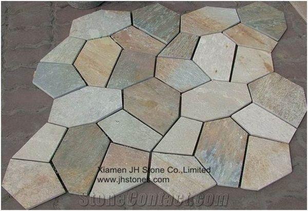 China Oyster Slate Floor Tile Mesh Irregular Flagstone Pavingcheap