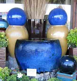 gorgeous bright blue garden pots