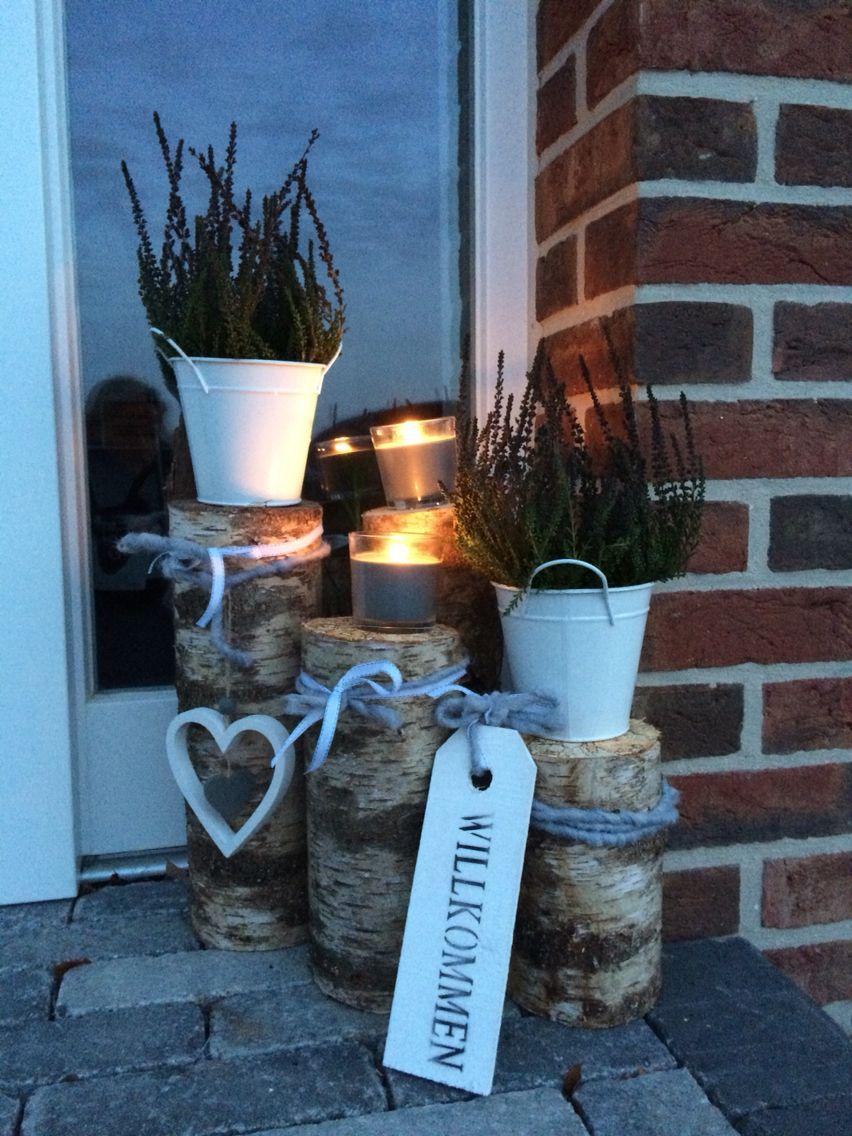 Deko vor der Haustür  Haus Tür  Pinterest  Gardens Decoration