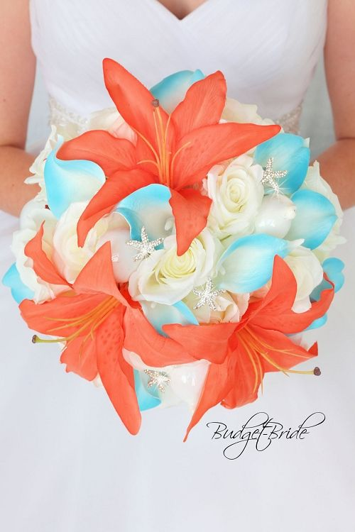 Coral Reef Davids Bridal Wedding Flowers Beach Theme Wedding Bouquet With Malibu Turquoise And Coral Beach Wedding Flowers Beach Wedding Bouquets Wedding Themes