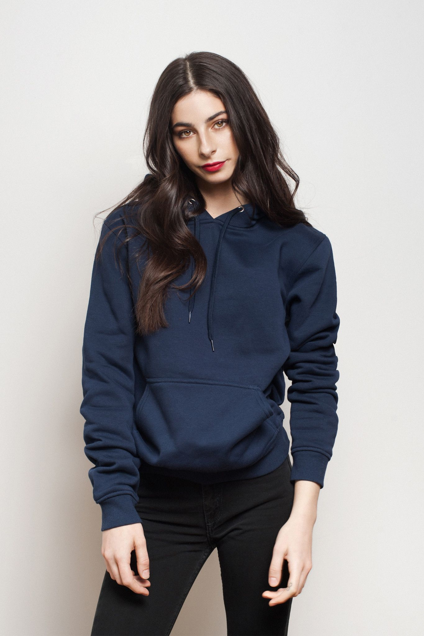 Women Navy Blue Fleece Pullover Hoodie. Breathable in the summer and warm  in the winter. Simple and casual style for an everyday outfit. 175adb9574