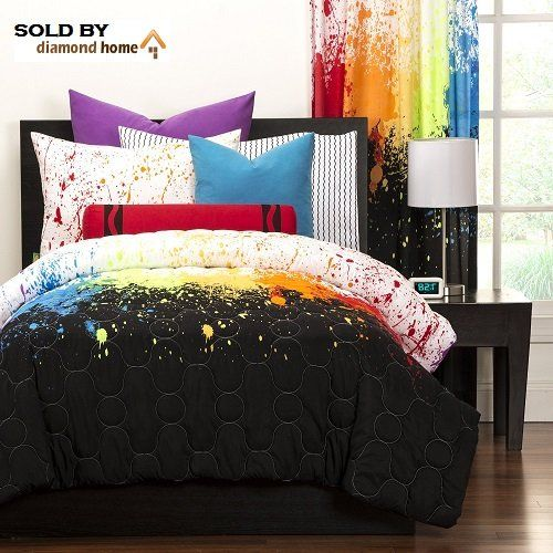 crayola crayon paint splash comforter set queen kids and teens abstract graphic paint splat pattern reversible bedding green orange purple red white black
