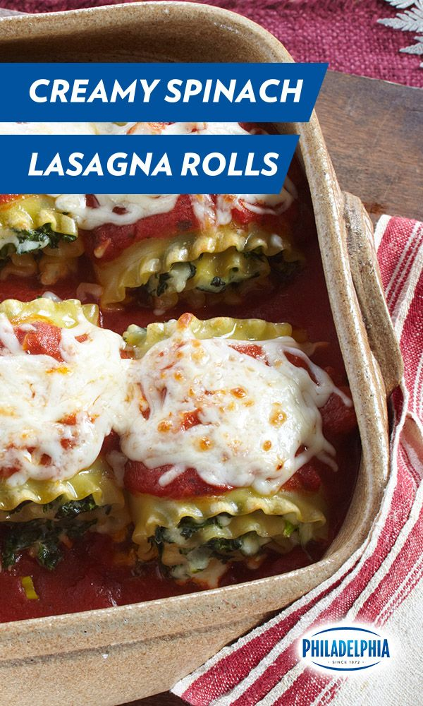 Get ready to roll up your sleeves... for less than half an hour. These delicious, creamy Spinach Lasagna Rolls are just as easy to make as they are to eat. It's a simple, savory recipe made with Philadelphia Cream Cheese, shredded Mozzarella and grated Parmesan. The perfect weeknight meal!
