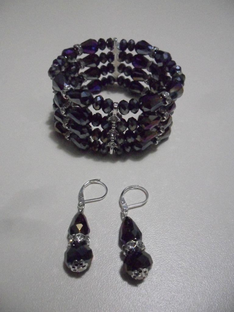 conjunto de brazalete cuatro vueltas en cristal de murano grafito diseño gota rondanas en strass de color beads.