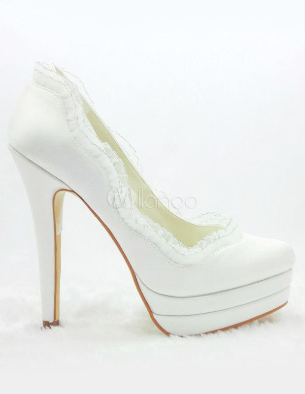 zapatos blancos con plataforma para novias de satén | boda