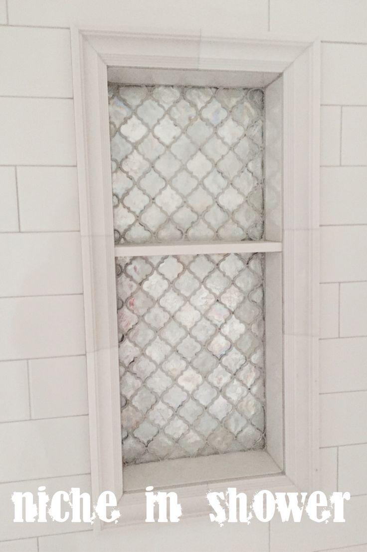 Arabesque tile light grey grout oversized white subway tile niche arabesque tile light grey grout oversized white subway tile niche in shower dailygadgetfo Image collections