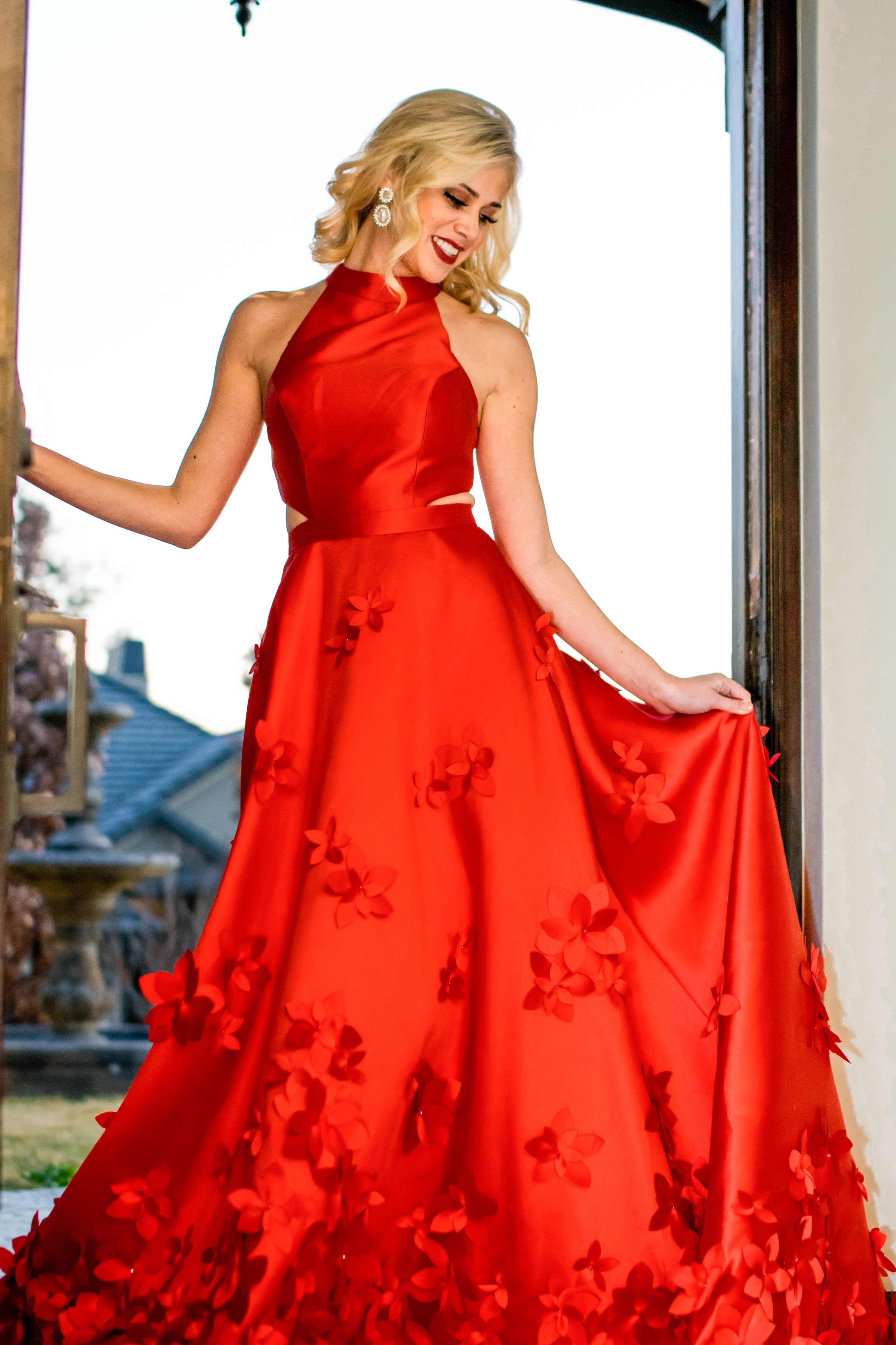 Sherri Hill Cherry Red Ballgown with Floral Appliqués Holiday Party ...