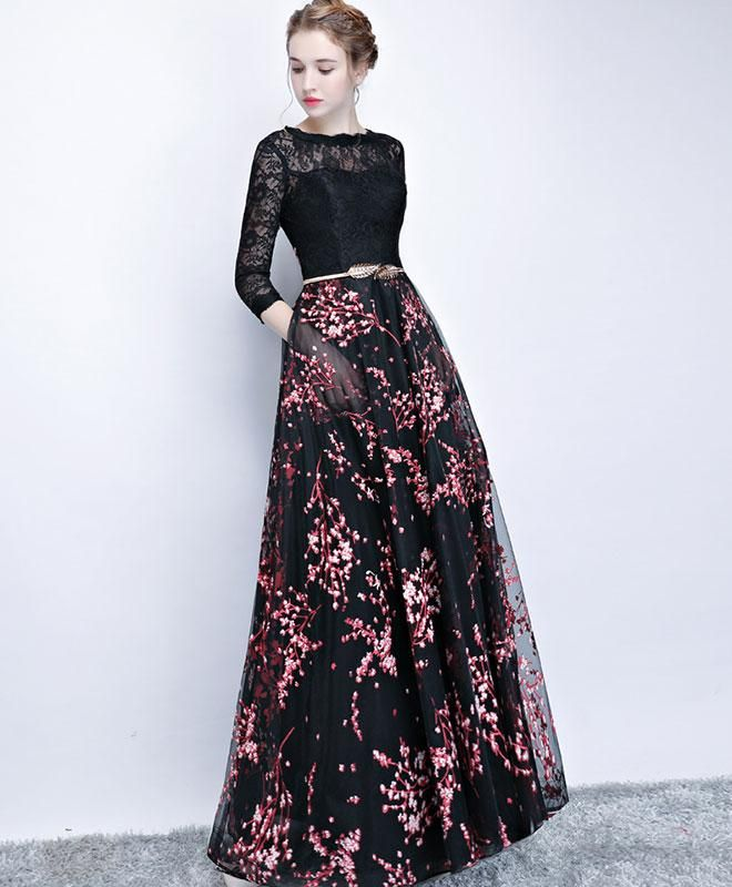 Black lace long prom dress, long sleeve prom dress | Long prom ...