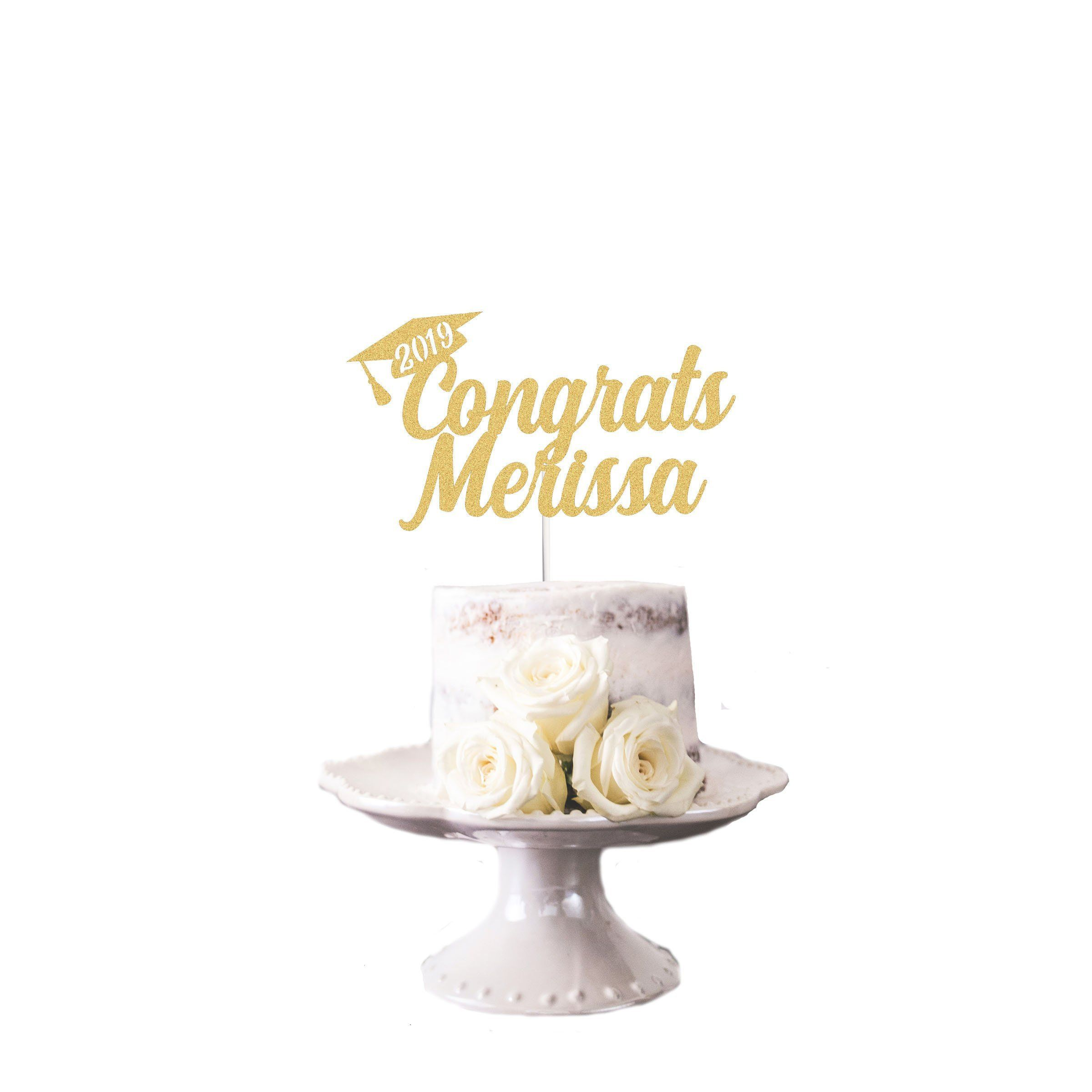 Personalised Name Graduation 2019 Black Glitter Card Cake Topper graduation