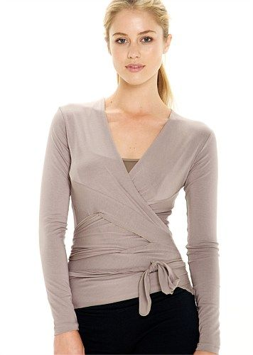 c88ebf42bc7af8 Buy Women s Yoga   Pilates Tops and Tanks Online in Australia - CLASSIC WRAP  TOP - LONG SLEEVED - MUSHROOM - Abi and Joseph