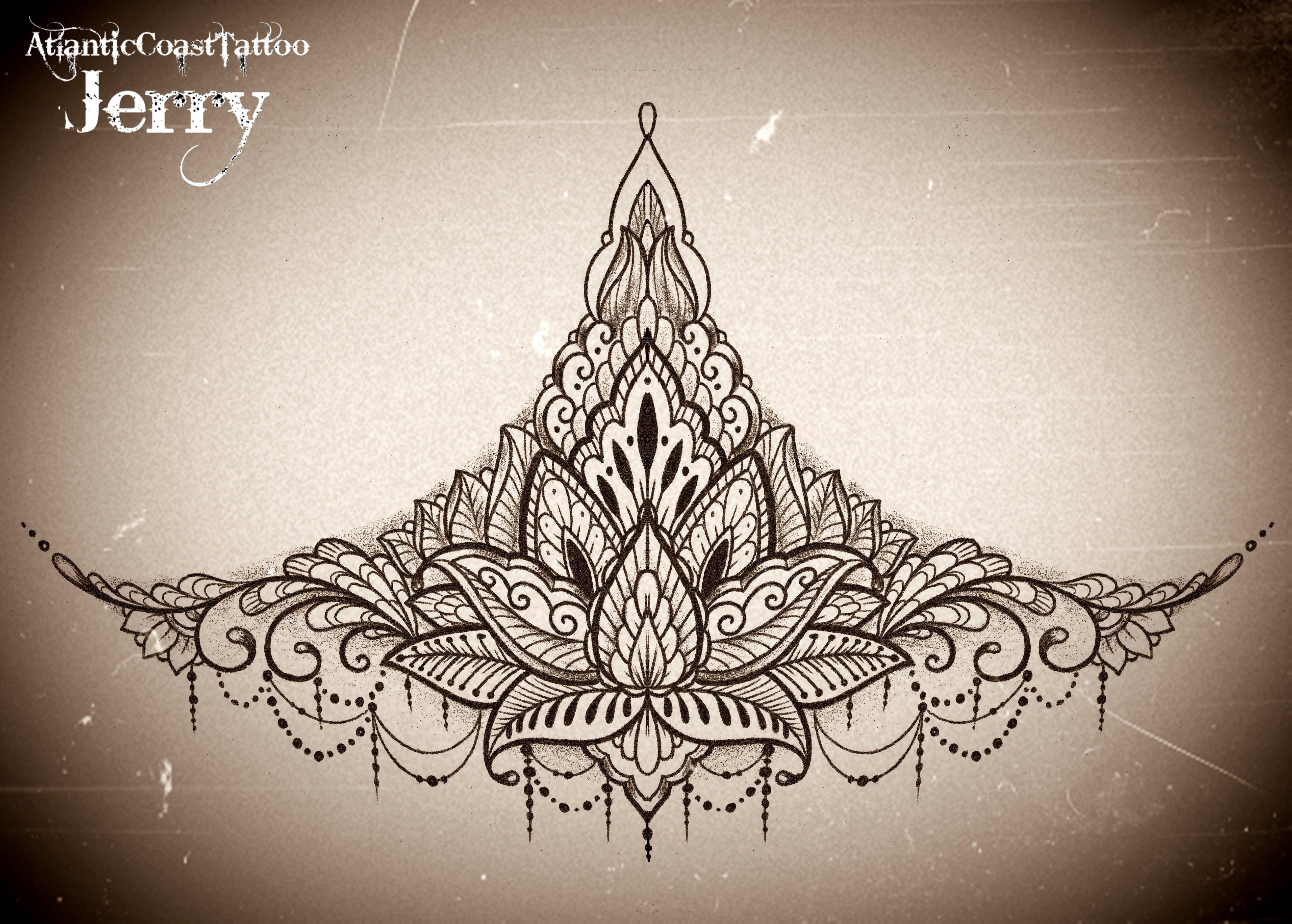Mehndi Flower Tattoo Designs : Sternum underboob tattoo design idea mandala mendi lotus flower