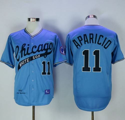 144d35eeeb6 Mitchell And Ness 1968 White Sox  11 Luis Aparicio Blue Throwback Stitched MLB  Jersey