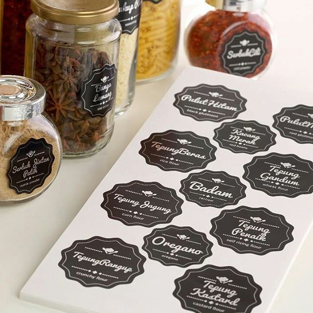 86pcs Label Por Di Dapur Material Sticker Metalised Chrome