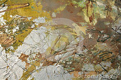Silvered and golden strokes of brush painting background with green hues.