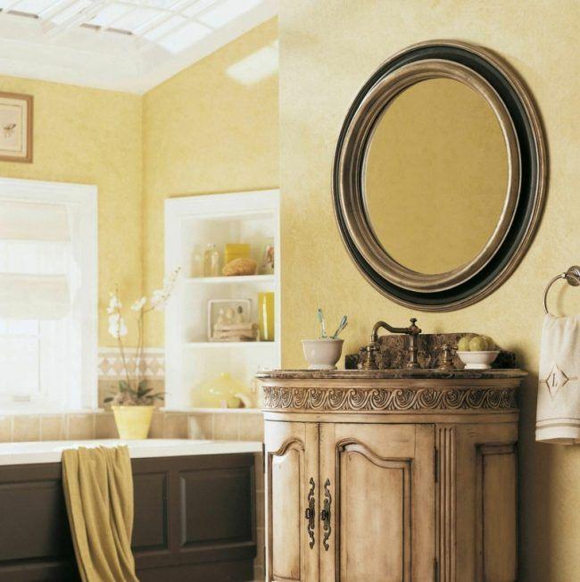 badezimmer ohne fliesen mediterran putz wand gelb vintage - putz im badezimmer