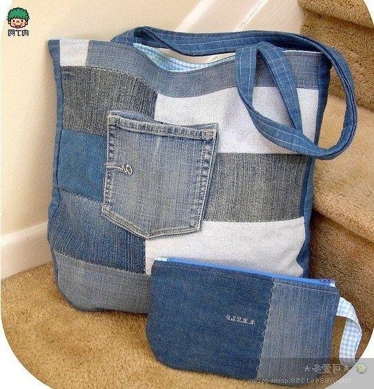 Ideas Para Hacer Bolsos Reciclando Pantalones Vaqueros Upcycled Bag Recycled Jeans Bag Jeans Bag