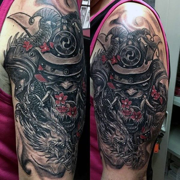 samurai mask and dragon dark shaded half sleeve tattoo for 600 600 tattoo reference. Black Bedroom Furniture Sets. Home Design Ideas