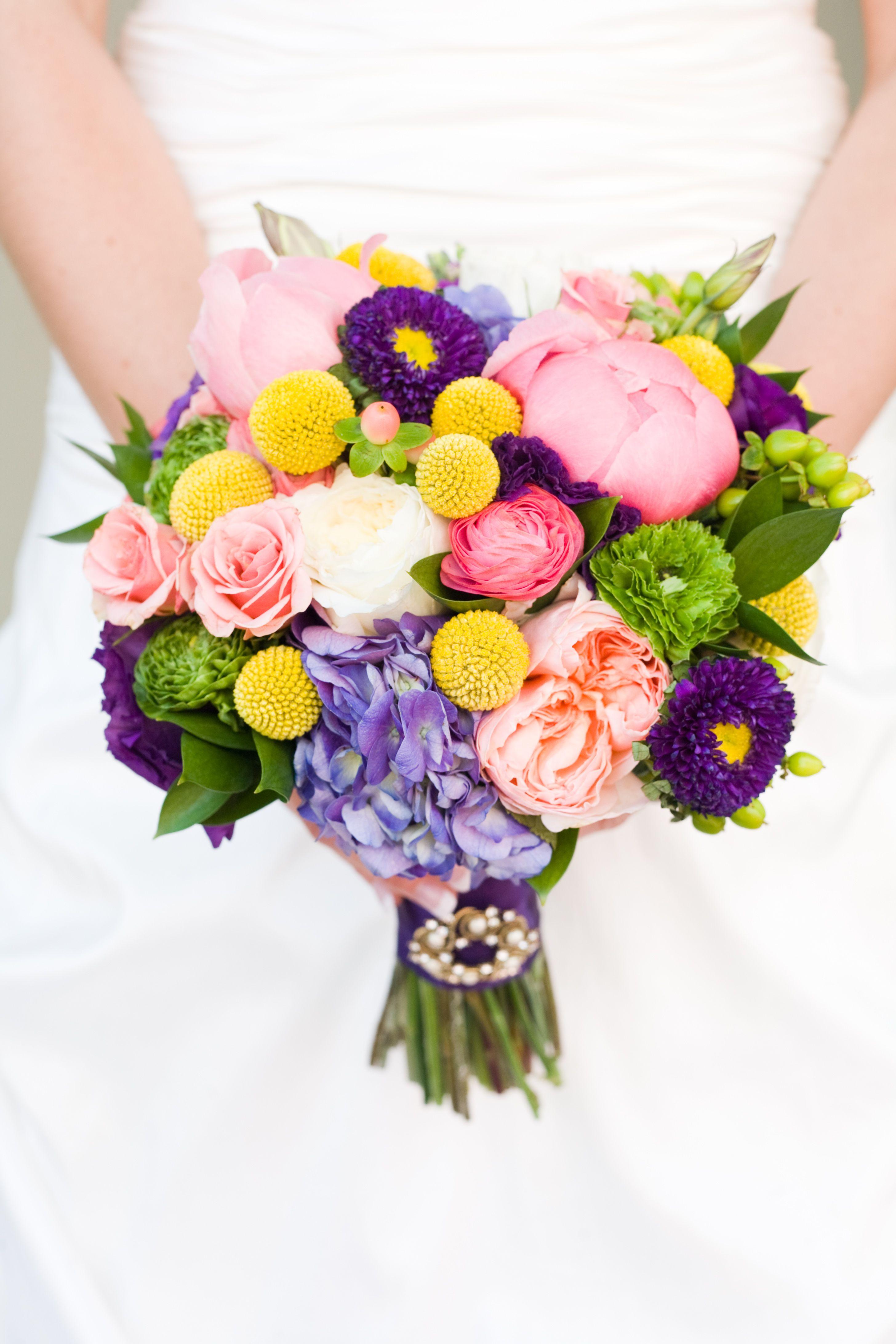 coral peony garden rose hydrangea ranunculus billy ball wedding