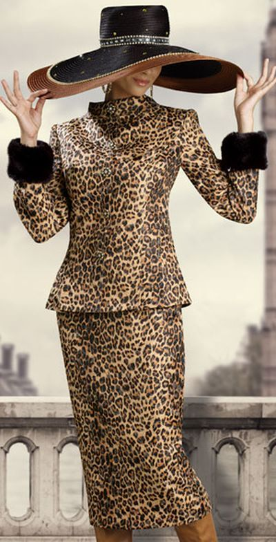 Donna Vinci Couture 5391 Womens Animal Print Church Suit e3fe21b3e