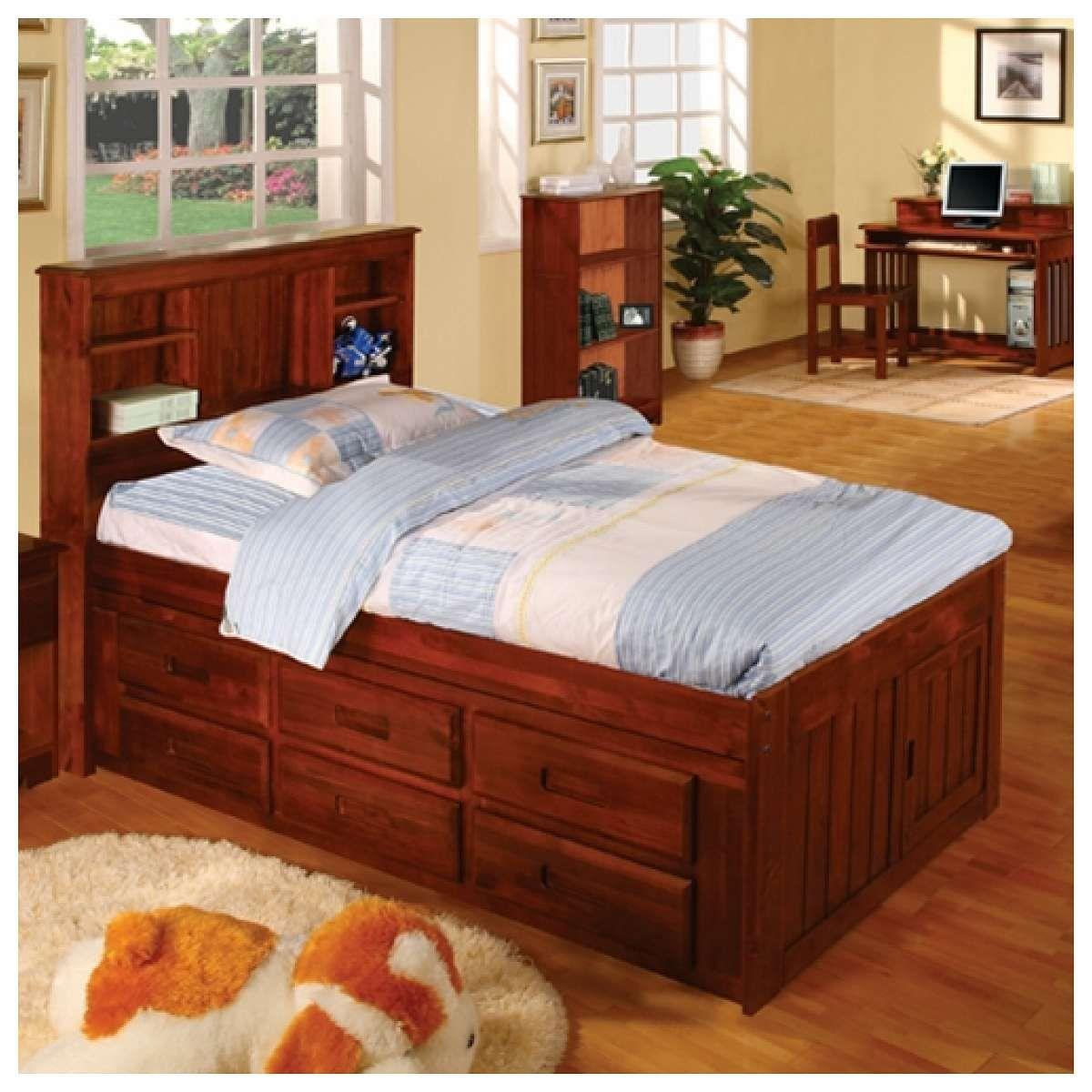 Loft captains bed twin  Discovery World Furniture Merlot Bookcase Captains Bed Twin With