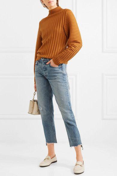 Helena Cropped Distressed High-rise Straight-leg Jeans - Mid denim GRLFRND xfUJj77i83