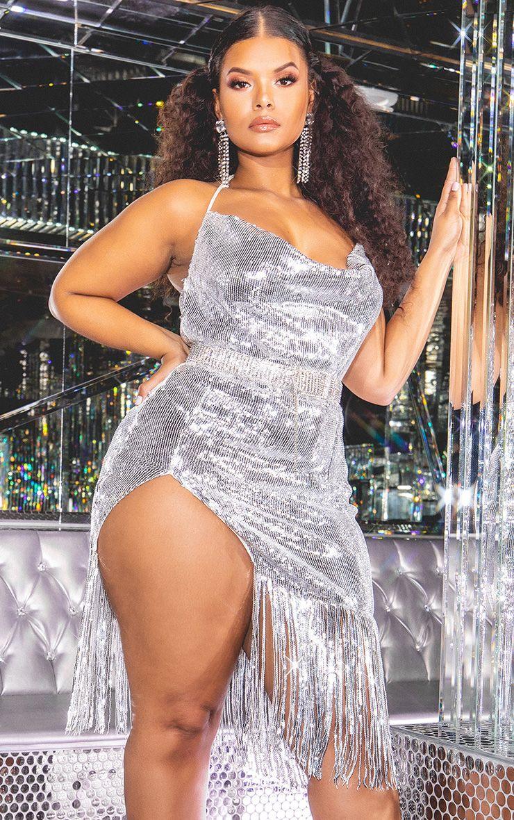 66167fb4 Hailey Baldwin - Plus Silver Sequin Cowl Neck Tassel Hem Midi Dress