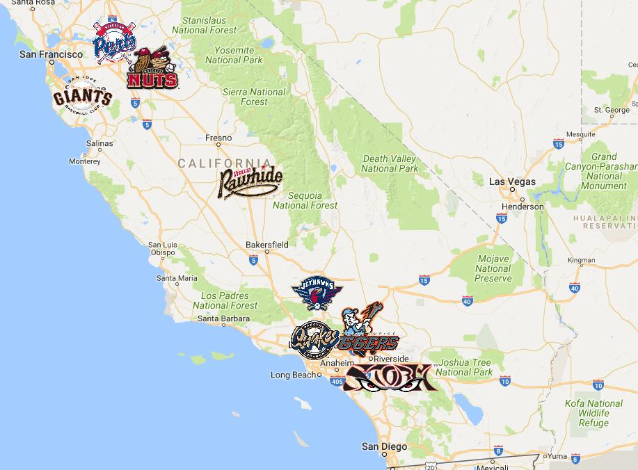 California Minor League Baseball Teams Map | California Map