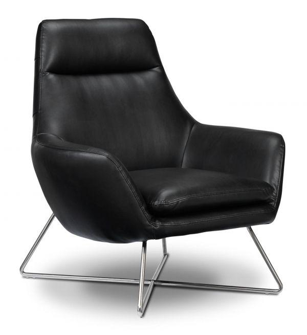 Frasier Accent Chair - дизайнерское кожаное кресло на металлических ножках. Лофт, классический стиль.