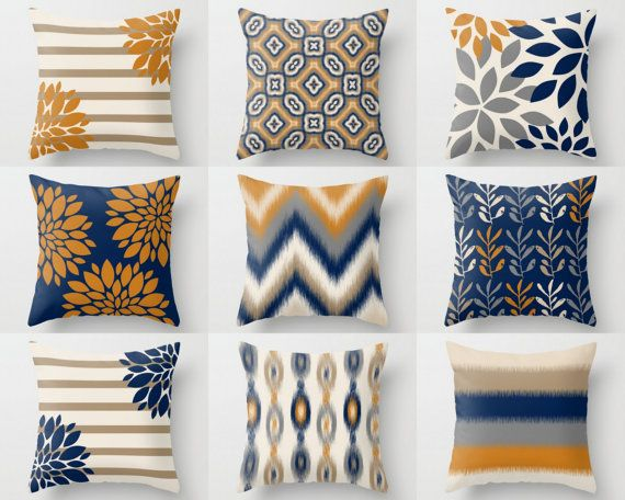 Throw Pillow Cover Designs In Mix And Match Prints Colors Are Navy Carrot Taupe Beige Sand And Grey Individu Throw Pillow Cover Navy Navy Decor Pillows