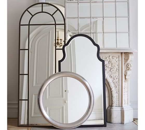size the photos to feel gallery room your leaning brass base wall make arched mirrors twice with large floors mirror against floor molding living