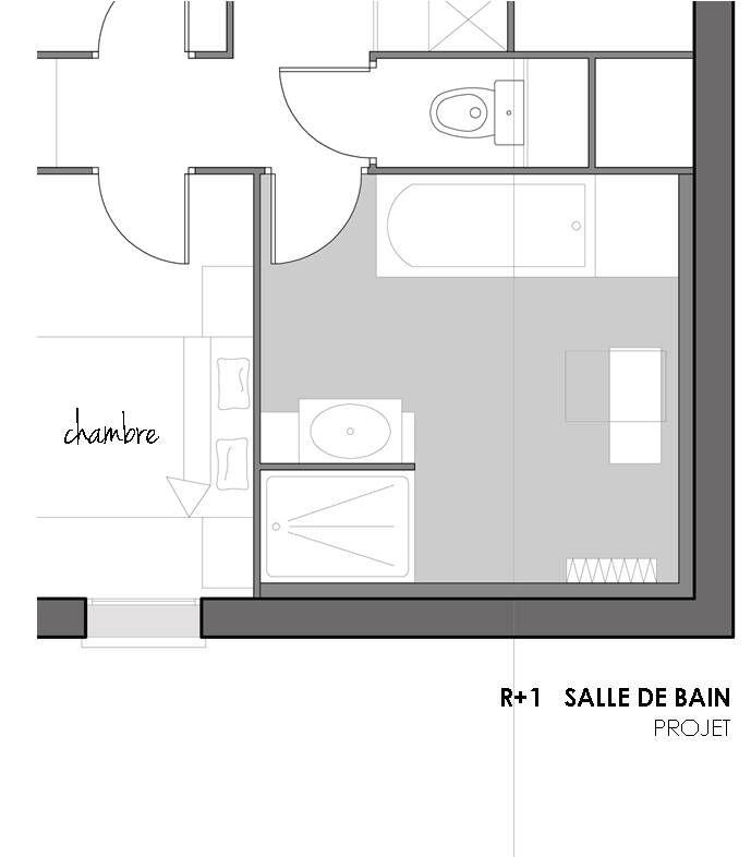 Élévation Calepinage pour une Salle de Bain sous Combles - salle de bain bleu gris