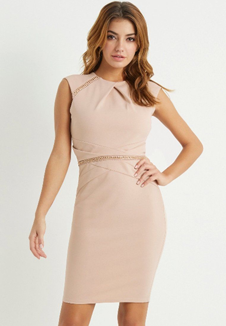 CHAIN PLEATED BODYCON DRESS - Cocktailkleid/festliches Kleid - nude